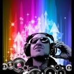 Artistic Disco Flyer with DJ shape — Stock Vector