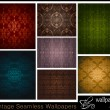 Set of 7 seamless vintage wallpapers — Stock Vector