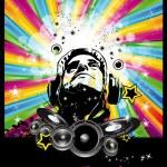 Music Disco Flyer With Raibow Colours — Stock Vector