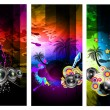 Royalty-Free Stock Immagine Vettoriale: Music Party Disco Flyer Set