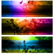 Stock Vector: Rainbow Backgrounds Set