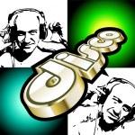 Абстрактный дискотека Флаер с силуэтами ди-джеев — Cтоковый вектор