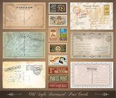Ancien style distressed vintage cartes postales — Vecteur