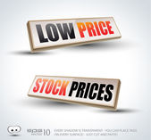 Low Price and Stock Prices 3D Panels — Stock Vector