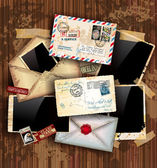 Vintage composition with postage design elements — Cтоковый вектор