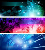 Flow of lights header backgrounds — Stock Vector