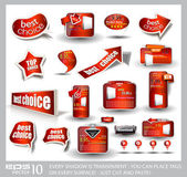 Big set of red sale and advertisement labels — Vector de stock