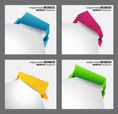 Origami style speech bubbles for corner positioning. — Stok Vektör