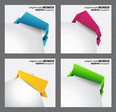 Origami stil pratbubblor för hörn placering. — Stockvektor