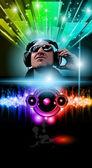 Disco Music Flyer with Disk Jokey — Stock Vector