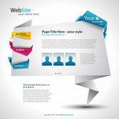 Diseño elegante de la página web de origami — Vector de stock