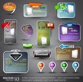 Insieme di vari elementi di design per il web — Vettoriale Stock