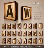 Vintage Domino Style Alphabet 3D — Stock Vector