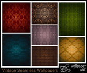Set of 7 seamless vintage wallpapers — Stockvector