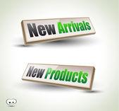 New Arrivals Box Panel 3D — Stock Vector