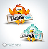 "Funny Cartoon Birds 3D icon to say ""Thank you"" — Stock Vector"