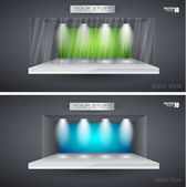 Showroom voor product met led spots — Stockvector