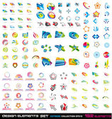 132 abstracte ontwerpelementen 2d en 3d — Stockvector