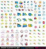 132 elementos abstractos diseño 2d y 3d — Vector de stock