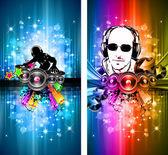 MAgic Lights Disco Flyer with DJ shape — Stock Vector