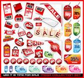 Satılık etiketler mega koleksiyonu kümesi — Stok Vektör