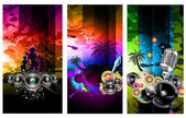 Music Party Disco Flyer Set — Stock Vector