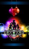 音乐主题传单的女孩 discoteque 活动传单的 — 图库矢量图片
