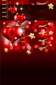 Elegant Red and Gold Valentine's Day Flayer — Stock Vector