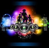 Panfleto de evento meninas discoteque para folhetos com temas de música — Vetorial Stock