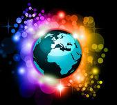 传单的抽象彩虹星球背景 — 图库矢量图片