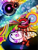 Gek discodans folder met sexy mond ontwerp — Stockvector