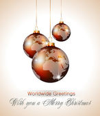 Worlds Christmas Baubles Background — Stock Vector