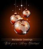 Worlds Christmas Baubles Background — Stock vektor