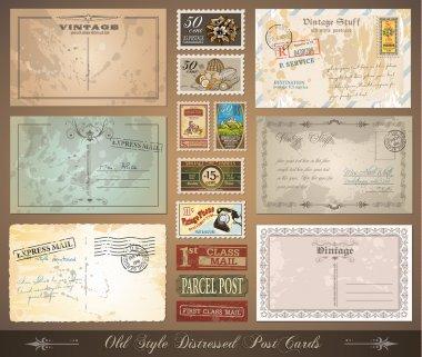 Old style distressed vintage postcards