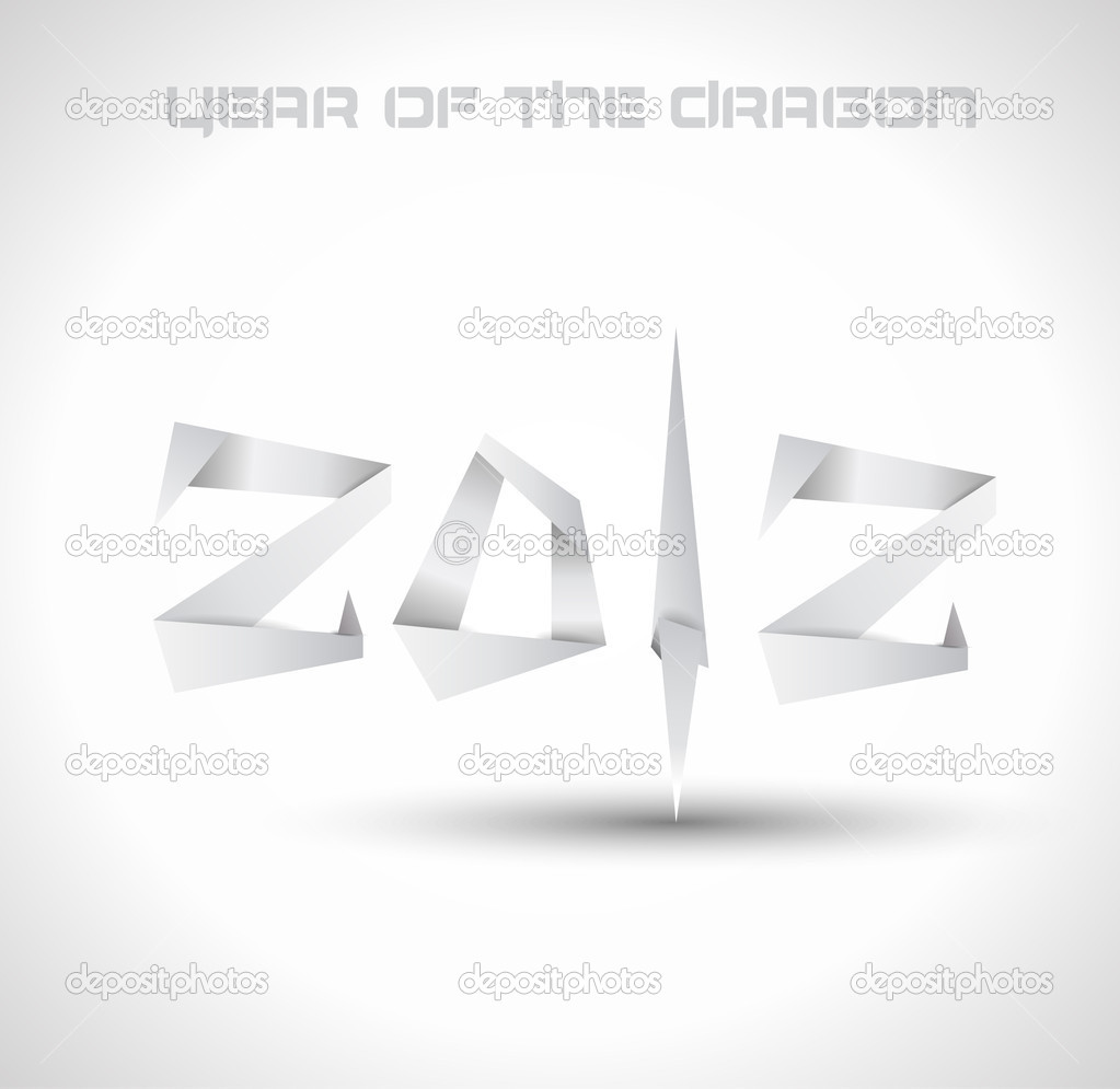 2012 Year of the Dragon backgroud. Original origami style 2012 for new year celebration posters, brochures or flyers. — Stock Vector #6711334