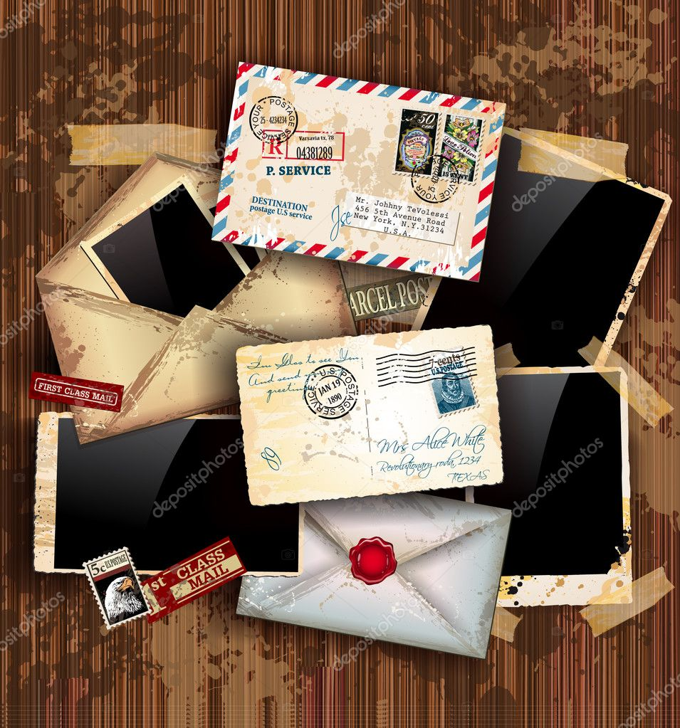 Vintage composition with old style distressed postage design elements and antique photo frames plus some post stickers. Background is wood. — Stock Vector #6711427