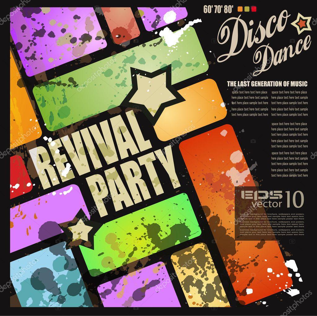 retro revival disco party flyer stock オシャレなフライヤー