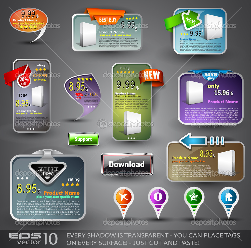 Set of Various Design Elements for Web or Blog Templates  Imagen vectorial #6714385