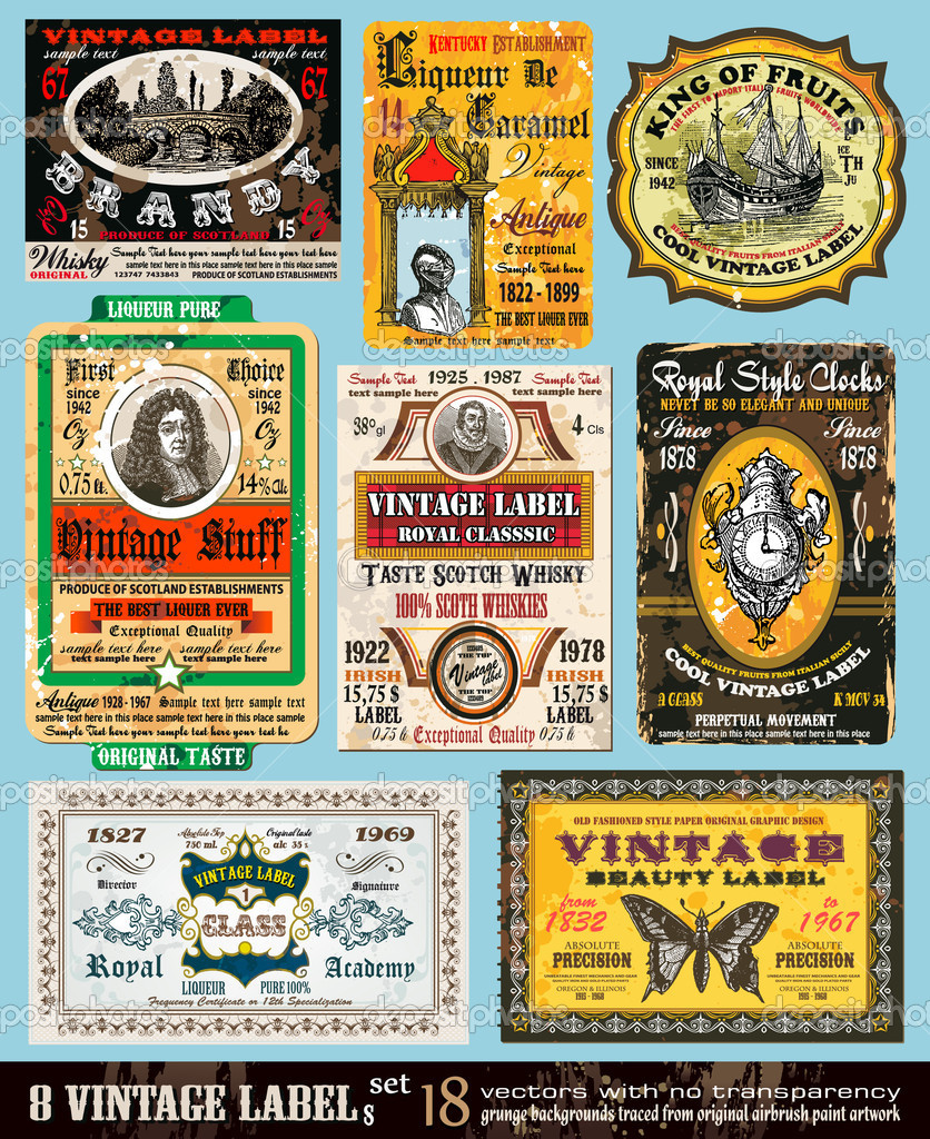 Vintage Labels Collection - 8 design elements with original antique style -Set 18 — Stock Vector #6715077