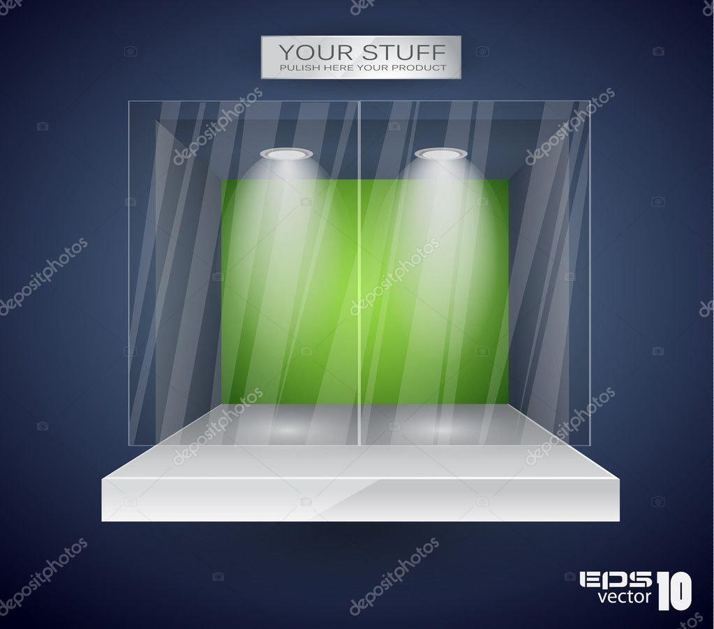 Showroom for product with LED spotlights and place for text or image — Stock Vector #6717347