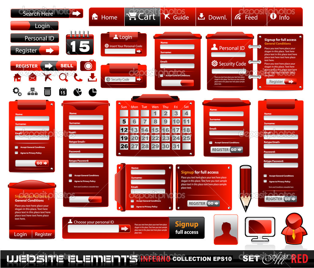 Web design elements extreme collection 2 BlackRed Inferno - Many different form styles, frames, bars, icons, banners, login forms, buttons and so on!  Stockvektor #6717804