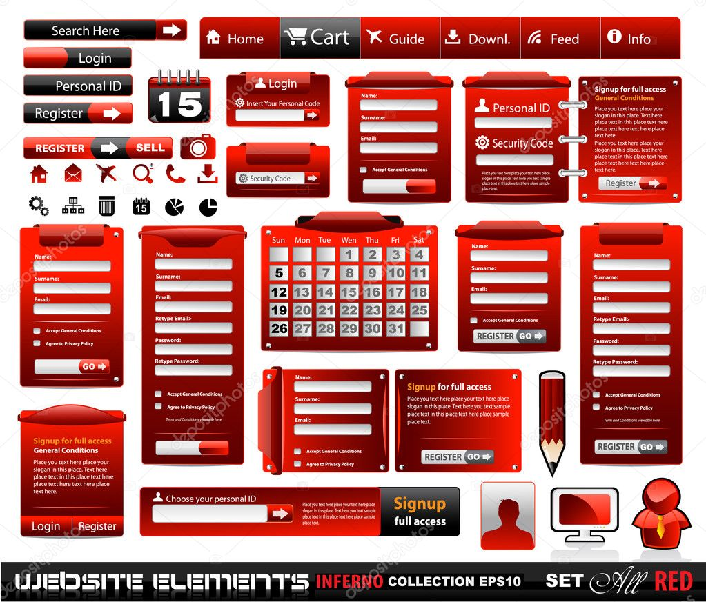 Web design elements extreme collection 2 BlackRed Inferno - Many different form styles, frames, bars, icons, banners, login forms, buttons and so on! — Векторная иллюстрация #6717804