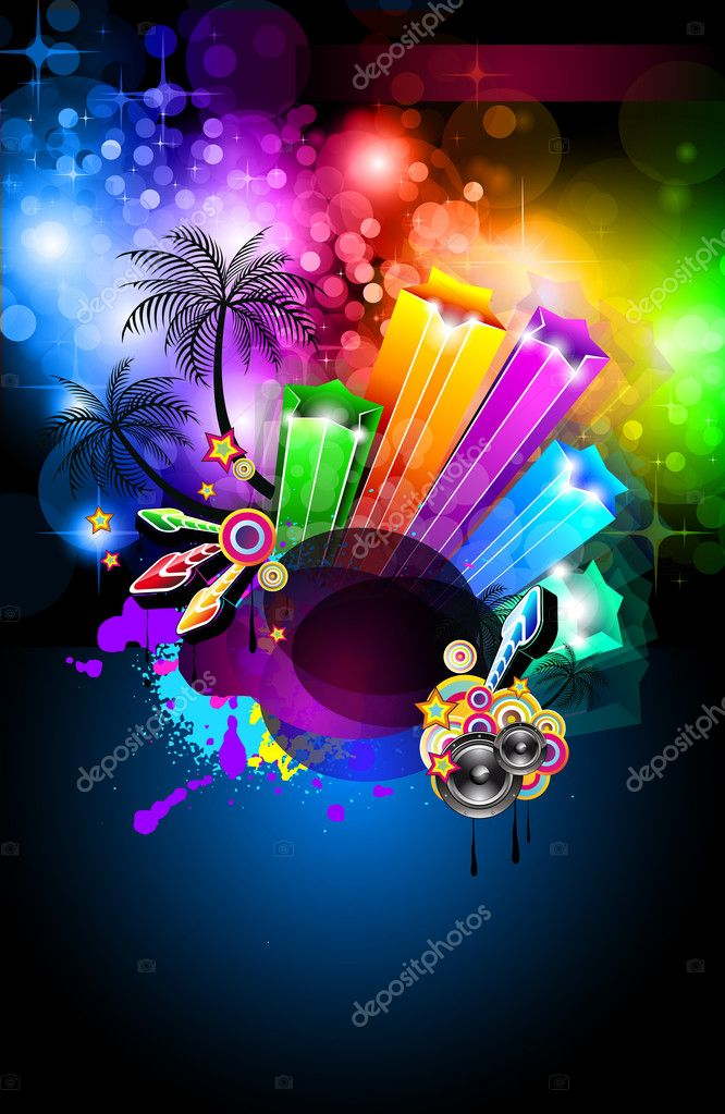 Disco Dance Tropical Music Flyer with colorful background — Stock Vector #6718722
