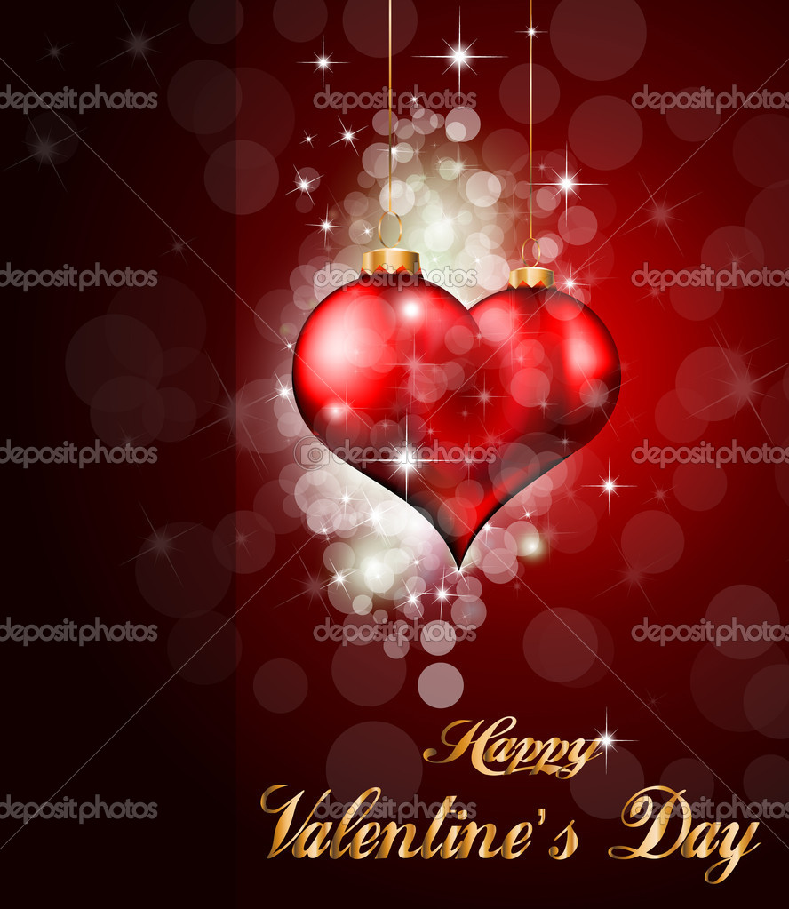 Red and Gold Heart Background for Valentine's Stylish flyer — Stock Vector #6719553