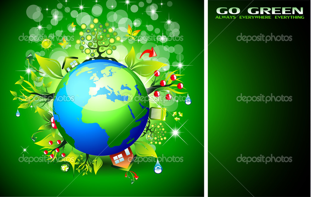 Go Green Ecology Background for Environmental Respect Posters — Stock Vector #6719703