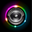 Futuristic Speaker with Glowing Lights Behind — Stock Vector