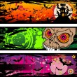 Halloween Grunge Style Banners With Horror Elements - Stock Vector
