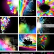 图库矢量图片: Rainbow Backgrounds Collection - Set 1 Black Version