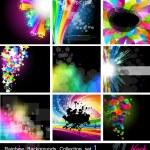 regenboog achtergronden collectie - set 1 zwarte versie — Stockvector