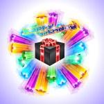 Gift Box for Chrstmas or Birthday Flyer — Stock Vector
